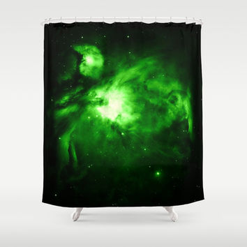 Orion Nebula Hauntingly Beautiful Emerald Green Shower Curtain by 2sweet4words Designs