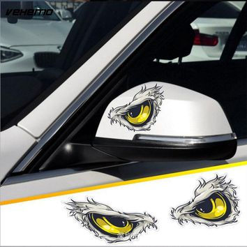 2Pcs 10x8cm 3D Stereo Reflective Cat Eyes Car Stickers Car Side Fender Sticker Rearview Mirror Windows Vinyl Decal Car Styling