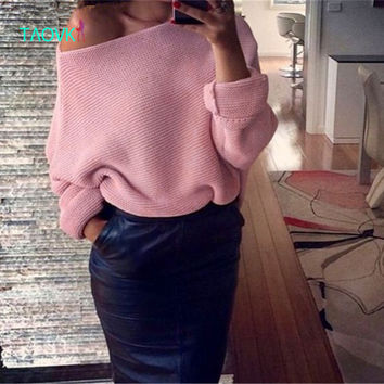 TAOVK Russian style design new 2016 women Bat sleeve loose one word collar knit pullovers sweater