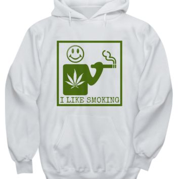 I Like Smoking Hoodie - Green Square Logo