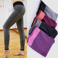 Women Yoga Sports Elastic Pants For Exercise Tights Fitness Running Trousers Slim Leggings