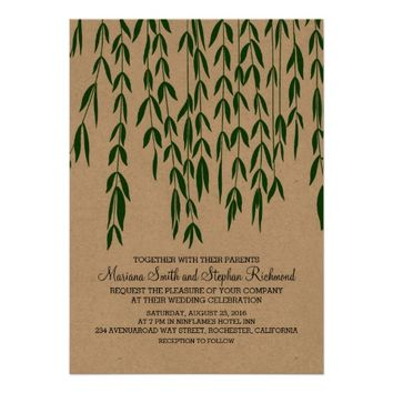 Willow Tree Branches Kraft Paper Wedding Invite