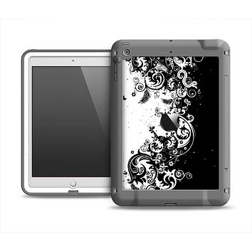 The Abstract Black & White Swirls Apple iPad Air LifeProof Fre Case Skin Set