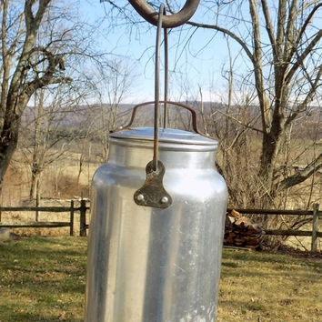 Leyse Aluminum Milk Can, Small Pail with Lid and Wire Handle