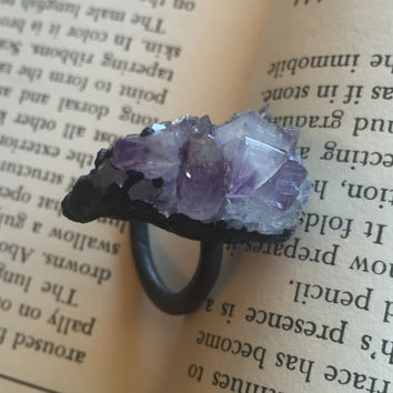 Amethyst Druze Ring size 11.5