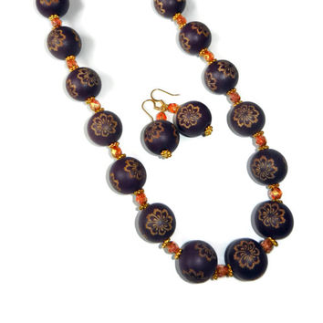 Plum Floral Beaded Chunky Necklace and Earring Set