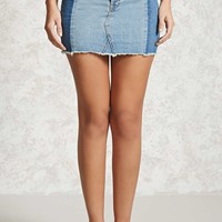 Colorblocked Denim Mini Skirt
