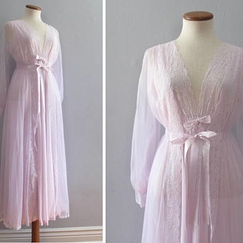 60s lingerie set - vintage lavender pink floral lace slip nightgown peignoir robe sheer maxi length mid century pinup romantic long sleeve