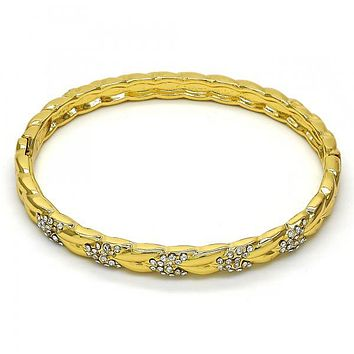 Gold Layered 07.252.0036.04 Individual Bangle, with White Crystal, Polished Finish, Golden Tone (06 MM Thickness, Size 4 - 2.25 Diameter)