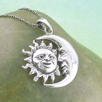 Sun and Crescent Moon Necklace in Sterling Silver