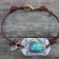 Turquoise Hand Soldered Bracelet . Hand Stamped . Rustic . Leather . Boho . Brass . Stackable . Handmade . NinandBumm
