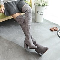 Suede Pure Color Chunky Heel Round Toe Over-knee Long Boots