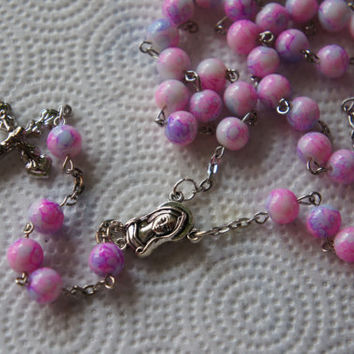 Rosary in Watercolor Pink Beads