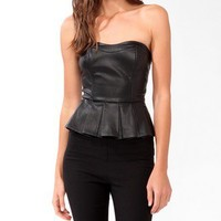 Pleated Peplum Bustier