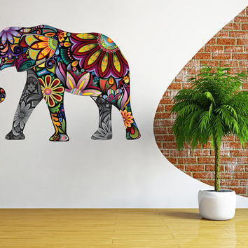 Elephant wall decal, nursery wall sticker elephant art, floral elephant decal wall decor removable vinyl animal abstract colorful [FL072]