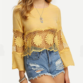womens long sleeve shirts tee fashion casual hollow out top gift 124