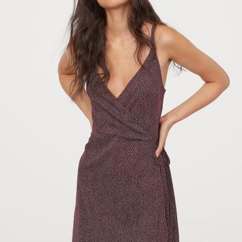 Modal-blend Wrap Dress - Burgundy/small dots - Ladies | H&M US