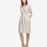 Striped Tie Waist Dress | Ann Taylor
