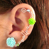 "Non Pierced Ear Cuff  ""Roses are Fun"" Cartilage Conch Cuff Silver tone Prom Wedding Bridal"