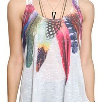 Watercolor Feathers Racerback Tank | FOREVER 21 - 2000032965