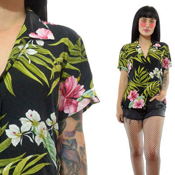 vintage 90s gauzy Hawaiian top Tropical print floral hibiscus shirt blouse grunge 1990s small