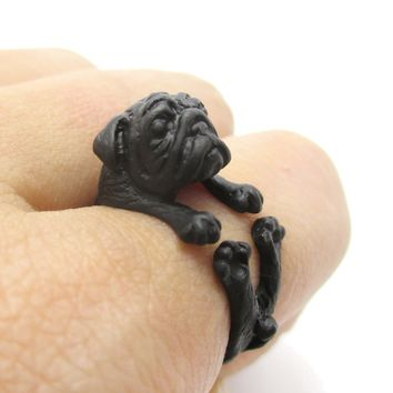 Adorable Black Pug Puppy Dog Shaped Animal Wrap Around Ring | Sizes 6 to 9