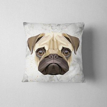 Geometric Pug White Decorative Throw Pillow Case Pillow Cover Pug Pillowcase Birthday Gift Idea Him Her Home Decor Dog Lover Pug Pet Lover