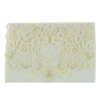 Rectangular Laser-Cut Pearlescent Scroll Swirl Heart Invitations, Ivory, 7-1/4-Inch, 8-Count