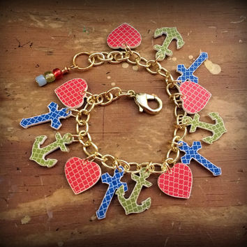 Religious Charm Bracelet - Faith Hope Charity - Bible School Jewelry - Sunday School Jewelry - Church Jewelry - Youth - Christian - Handmade
