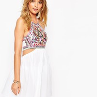 ASOS Embroidered Mirror Cut Out Dress