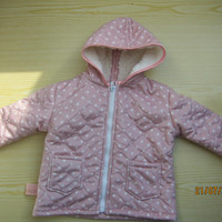 Quilted Baby Girl Jacket with hood in pink with stars, size 5-6 Baby Girl Winter Jacket