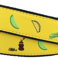Bloody Mary Leather Tab Belt in Yellow with Navy Canvas Backing by Knot Belt Co.
