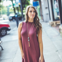 Mock Neck Swing Dress in Burgundy