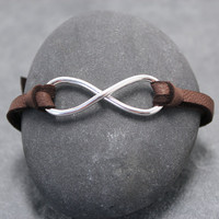 INFINITY LEATHER BRACELET for men or boys by RoyalCountess on Etsy