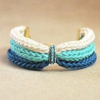 Ombre bracelet, teal bracelet from cotton with blue beads, knit bracelet