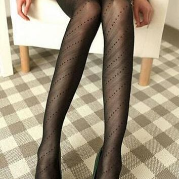 LNRRABC Sexy Women Pantyhose Lace Core Wire Jacquard Thin Summer Spring Black Silk Stockings Fishnet Compression Slim Tights