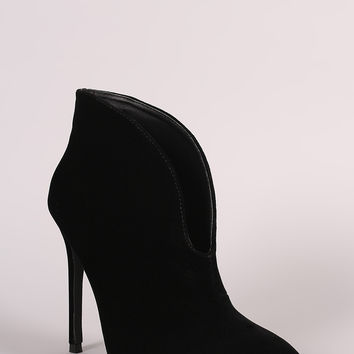 Pointy Toe Cleavage Stiletto Ankle Boots