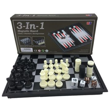 Mini Folding Magnetic Board Game - Chess & Checkers & Backgammon 3 in 1 Game
