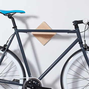 Bike Rack Bike Shelf - Wall Mount / *Burnside* / Mahogany or Maple Wood Bicycle Rack / Modern Minimalist Simple Bike Storage