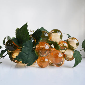 Vintage 1960s Resin Lucite Acrylic Grapes Champagne Soft Orange Grapes Retro Mid Century Modern Large Green Grape Cluster