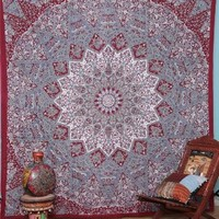 Handicrunch Indian Prismatic Hippy Bedspread Floral Print Ethnic Elaphant Tapestry
