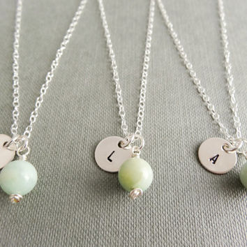 Bridesmaids matching necklaces, set of 3 Initial necklaces, Bridal favours, mint green necklaces, sterling silver, Amazonite necklaces