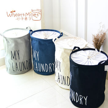 New trade zakka cotton cloth storage Laundry bucket bedroom Natural fabric laundry basket storage basket clothes baskets