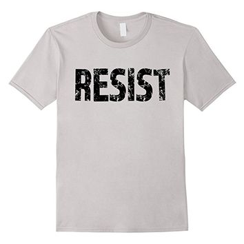 Resist Tee with black text