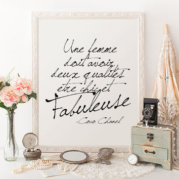 FRENCH QUOTE Coco Chanel Inspirational Print Poster Coco Chanel Quote Typography Quote Home Decor Motivational Poster Wall Print Chanel Art