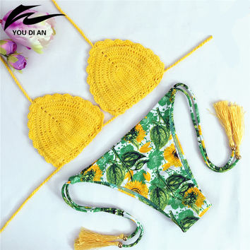 summer Swimwear hot sale beach Knitted Bathing Suit Handmade bikinis women Crochet push up Bikini set crochet Brazilian Swimsuit