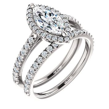 Marquise Moissanite Diamond Accent Ice Halo Cathedral Ring