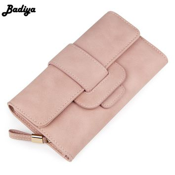 Badiya Fashion Elegant Solid Women's Long Wallet Trifold PU Leather Female Daily Clutch Scrub Ladies Card Holder Bag Coin Purse