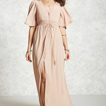 Semi-Sheer Slit Maxi Dress