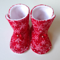 Baby Girl Toddler Fleece Flannel Christmas Holiday Boot Cozy Comfortable Warm Winter Red White Bow